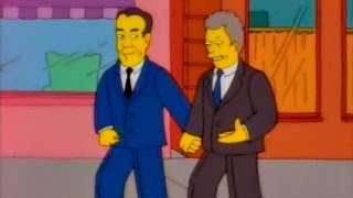 The Simpsons - Bill Clinton and Bob Dole holding hands