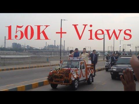 Narendra Modi and Shinzō Abe come at Ahmedabad Riverfront 13 Sep.   Narendra Modi entry at Ahmedabad