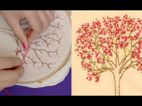 Make Cherry Blossom Tree With French Knot Hand Embroidery On A