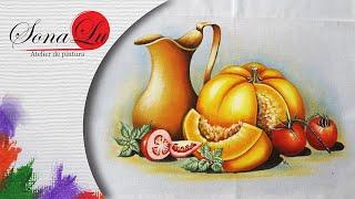 Jarro, Abóbora e Tomates em Tecido (Parte 1) Sonalupinturas