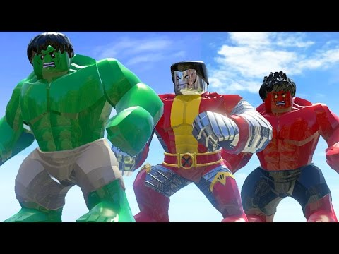 Hulk (Transformation) Vs Colossusus Vs Red Hulk - Lego Marvel Super Heroes Game |