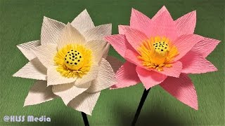 How to make beautiful lotus paper flower| Diy origami lotus crepe paper flower making tutorials
