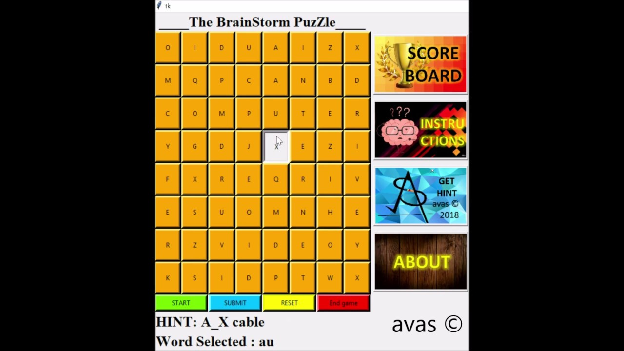 Puzzle game in PYTHON using Tkinter