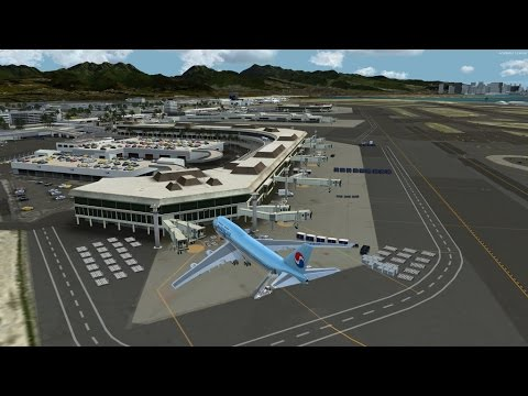 P3D PMDG B747 V3 Korean air 053 Seoul to Hawaii honolulu with real cabin announcement and vatsim