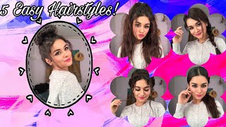 5 Easy Hairstyles | In 1 Min | No Heat | Avneet Kaur |