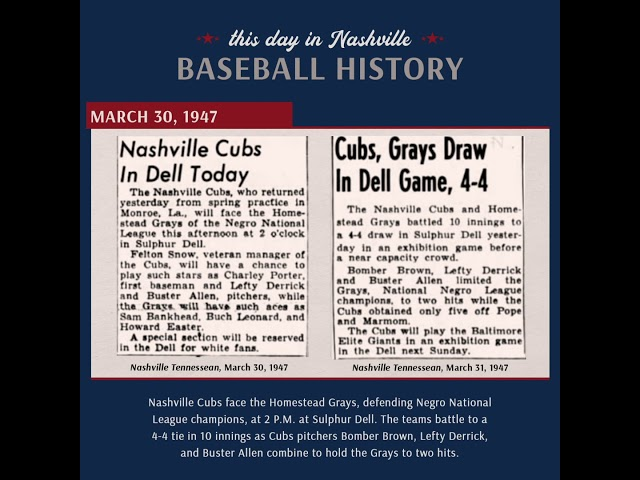 This Day in Nashville Baseball History | March 30, 2020