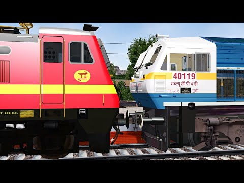 Rajdhani Express Loco Failed Rescue by GY WDP4D in Indian Train Simulator