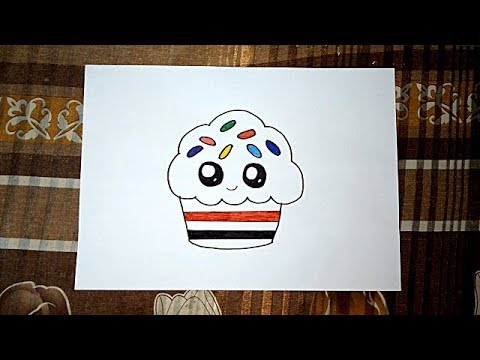 رسم كب كيك كيوت بسيط وسهل للاطفال Youtube