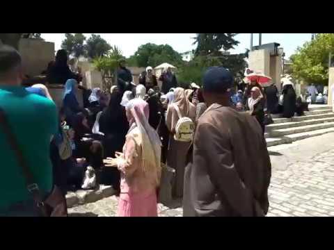 Muslims protest metal detectors outside Temple Mount, Jerusalem