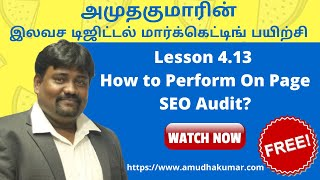 How to Perform On Page SEO Audit?   Digital Marketing Course in Tamil   Amudha Kumar