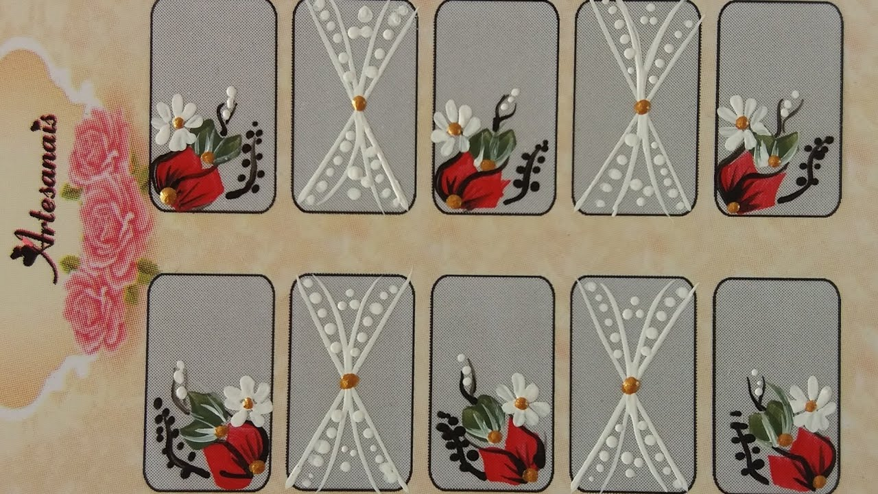 Adesivo De Unha Infantil Passo A Passo ~ Flor Vermelha Com Margarida Passo A Passo Adesivos De