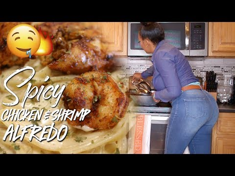 COOK WITH ME | SPICY CAJUN CHICKEN AND SHRIMP ALFREDO