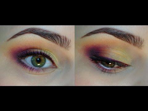 Яркий фиолетово-оранжевый макияж