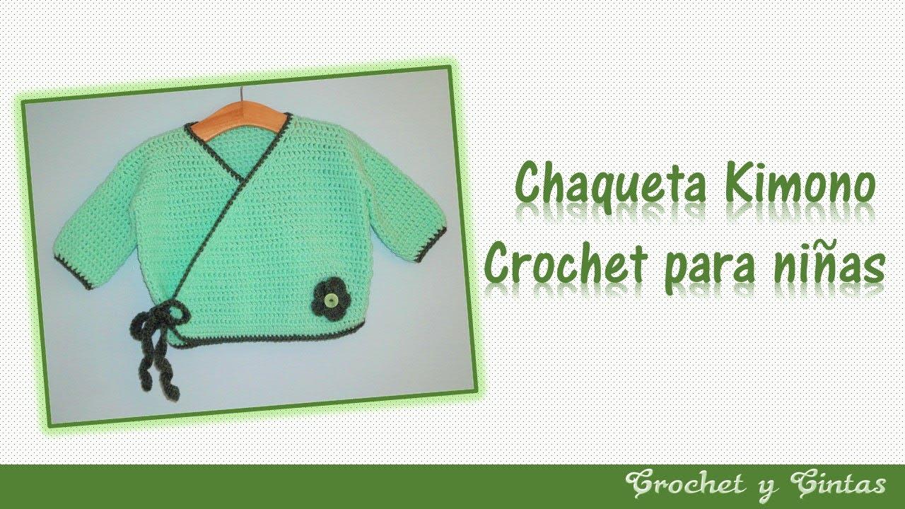 Chaqueta – abrigo kimono a crochet (ganchillo) para niñas – Parte 1 ...