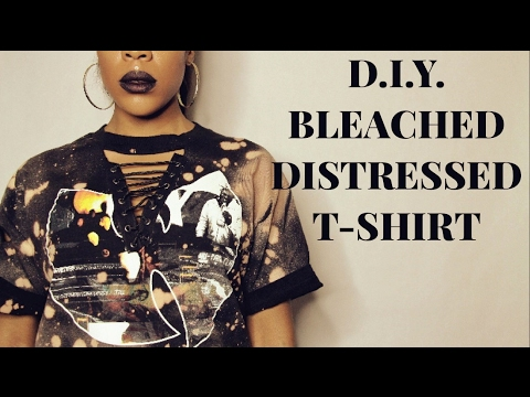 D i y bleached distressed t shirt youtube for How to make a distressed shirt