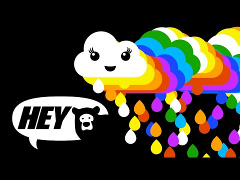 Hey Bear Sensory - Rainbow  - fun video with music and high contrast animation - Baby Sensory