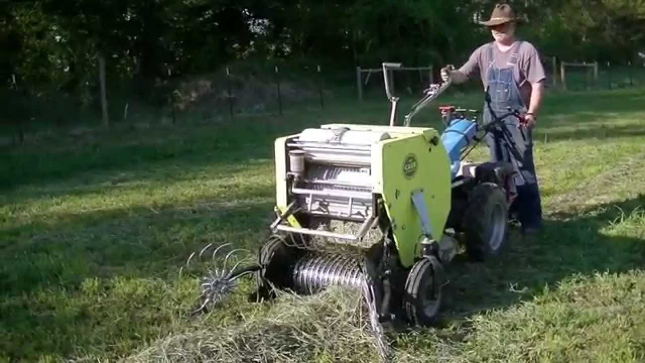 Baling Hay Using Bcs Tractor And Caeb Baler Youtube