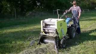 Baling Hay using BCS tractor and CAEB baler