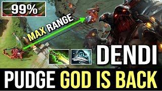 DENDI PUDGE GOD IS BACK! EPIC Pudge OMG Hook Max Range 99% WTF Dota 2