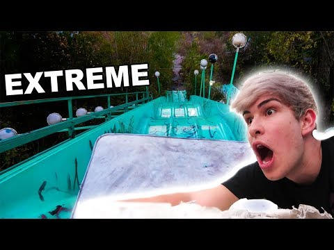 EXTREME MATTRESS SLEDDING in Abandoned theme park  (Must see)