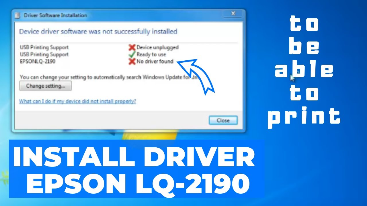 Install Driver Printer Epson Lq 2190 For Windows 7 Youtube Print Head 2180 New
