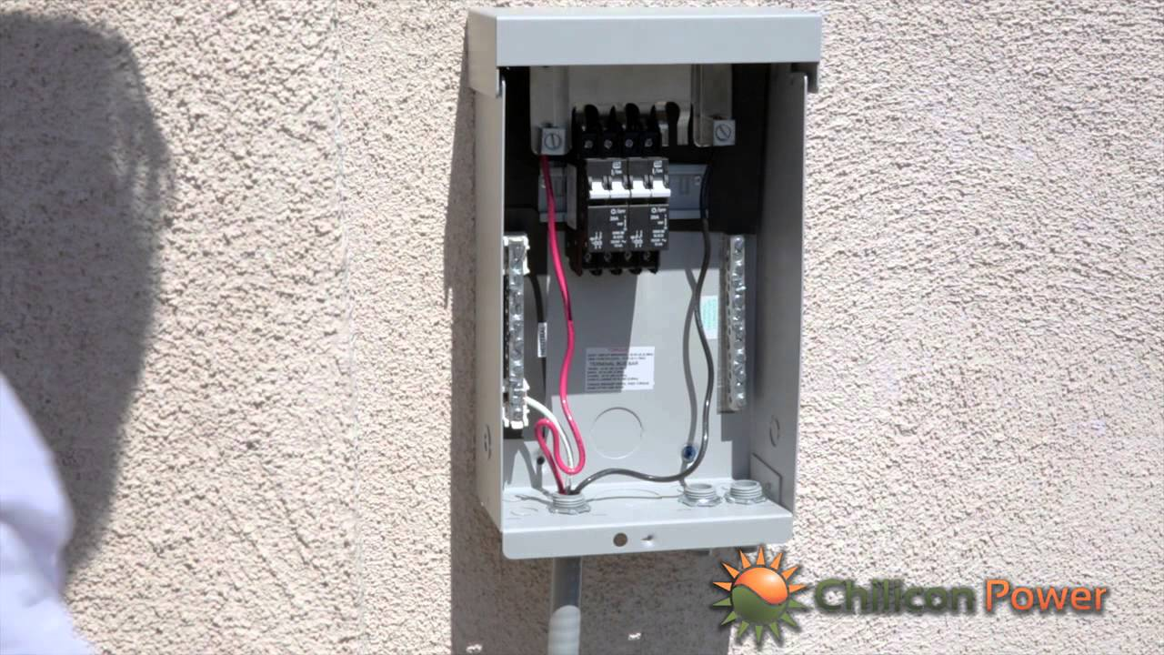 part 9 ac disconnect and breaker box youtube rh youtube com wiring a breaker box with a 12 2 feeder wiring a breaker box to a generator