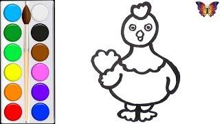 Как нарисовать КУРОЧКУ /  мультик раскраска КУРОЧКА  для детей / Раскраски малышам