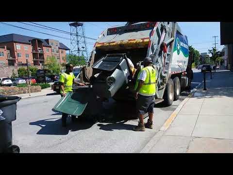 Waste industries truck on garbage detail