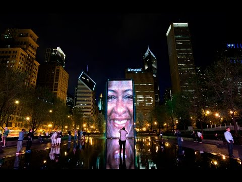 Crown Fountain at Millennium Park by Crystal Fountains - Chicago, Illinois, USA