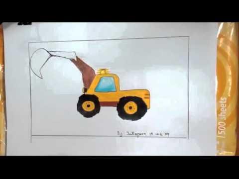 รถแม็คโครตักดิน, รถบรรทุก ,รถสิบล้อ ,วาดภาพระบายสี,drawing backhoe truck