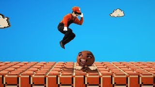 Super Mario jumps on Goomba