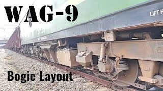 WAG-9 Bogie layout and underframe components of 6120hp Freight 3phase AC Traction locomotive