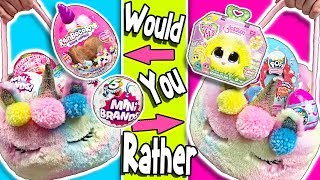 Would You Rather?! UNICORN EASTER BASKETS Challenge! LOTS OF TOYS! 5 Surprise Mini Brands PIKMI Pops