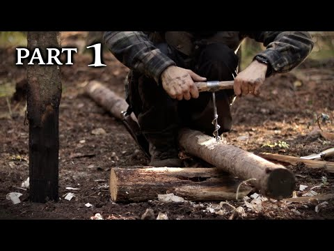 Bushcraft Viking Turf House Build with Hand Tools - Timber Frame (PART 1)