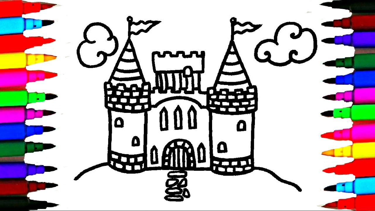how to draw and color castle l kids drawing simple castle coloring pages videos for kids