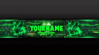 Youtube Banner Template Green.Psd Photoshop