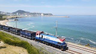 동해바다 하평해변을 지나가는 기차 화물열차소리