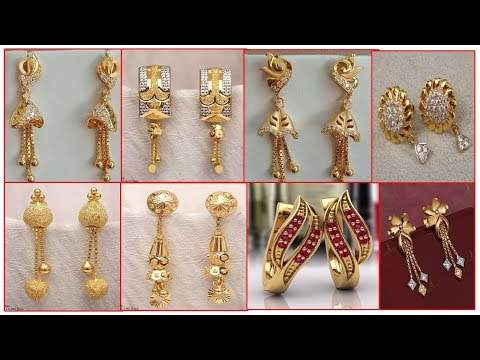 Latest Light Weight Gold Earrings Designs | Gold Jhumka,Hoop Earrings Collections