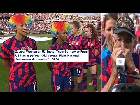 Women on US Soccer Team Turn Backs On the Flag as 98-Year-Old Veteran Plays National Anthem
