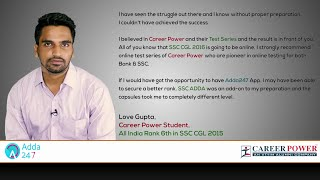 Tête a Tête with Love Gupta, Career Power Student, All India Rank 6 in SSC CGL 2015 Video