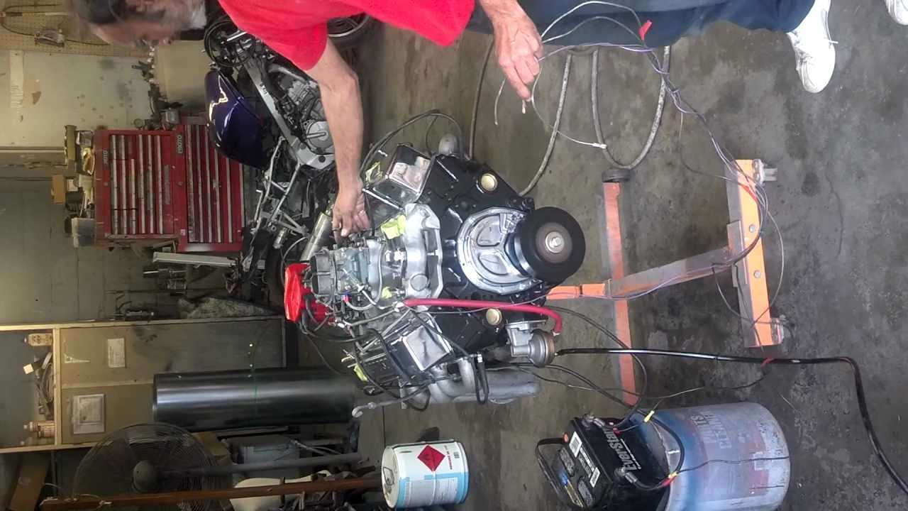 sbc 355 engine stand start up
