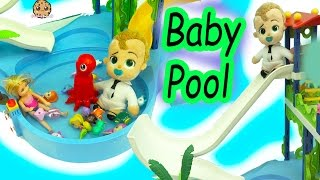 The Boss Baby Swims & Slides In Pool With Splashlings Mermaid Dolls + Barbie Kid