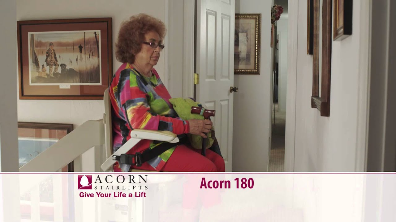 mobility acorn belt seat a retractable the using chair has makes also stair lift