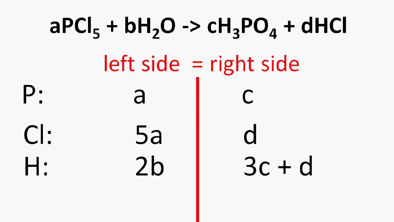 Chemistry  U2013 How To Balance Chemical Equation Using Algebra