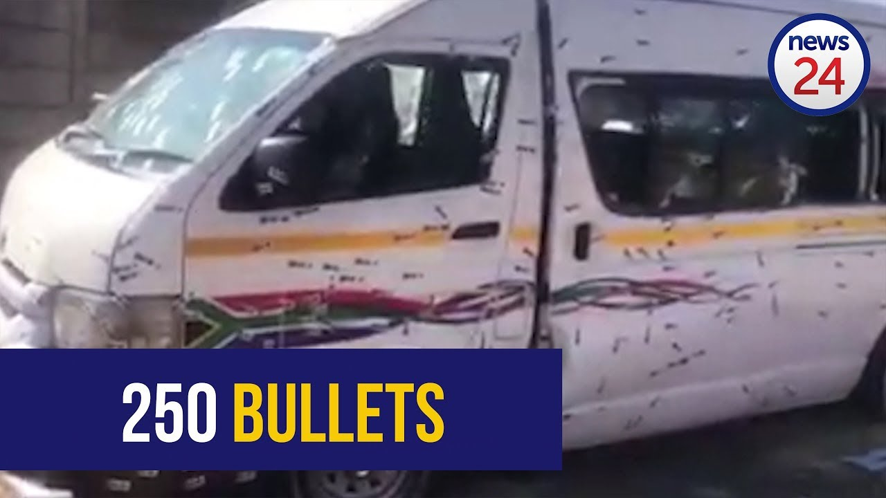 Footage shows bullet riddled taxi in which 11 died.