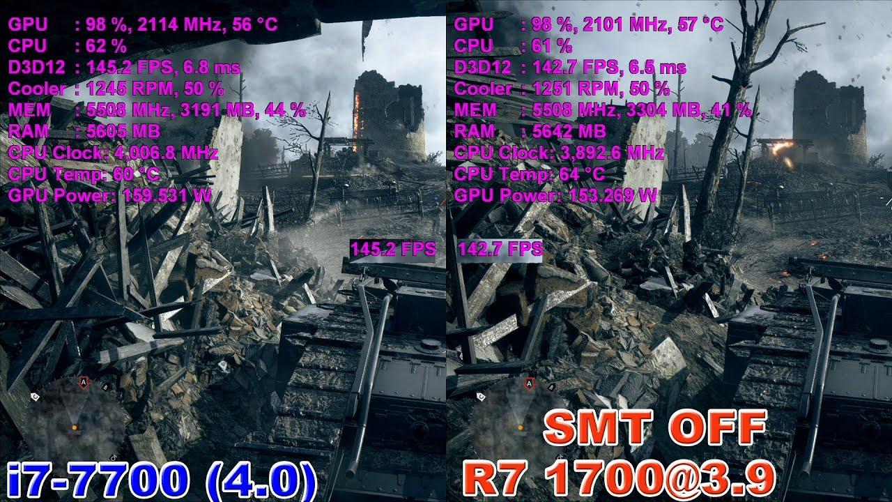 R7 1700@3.9 против i7-7700 (GTX 1080) SMP ВЫКЛ!