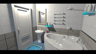 Ванная комната в доме. Дизайн. - Дом#1 - Ep.2 - Интерьеры от Unfiny - Уроки по Sweet Home 3d