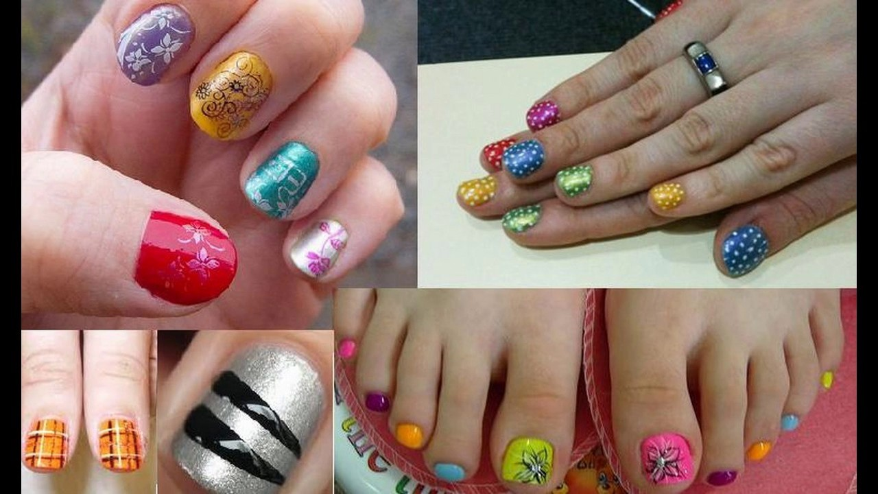 Uñas decoradas diseño uñas cortas sencillas y elegantes - YouTube
