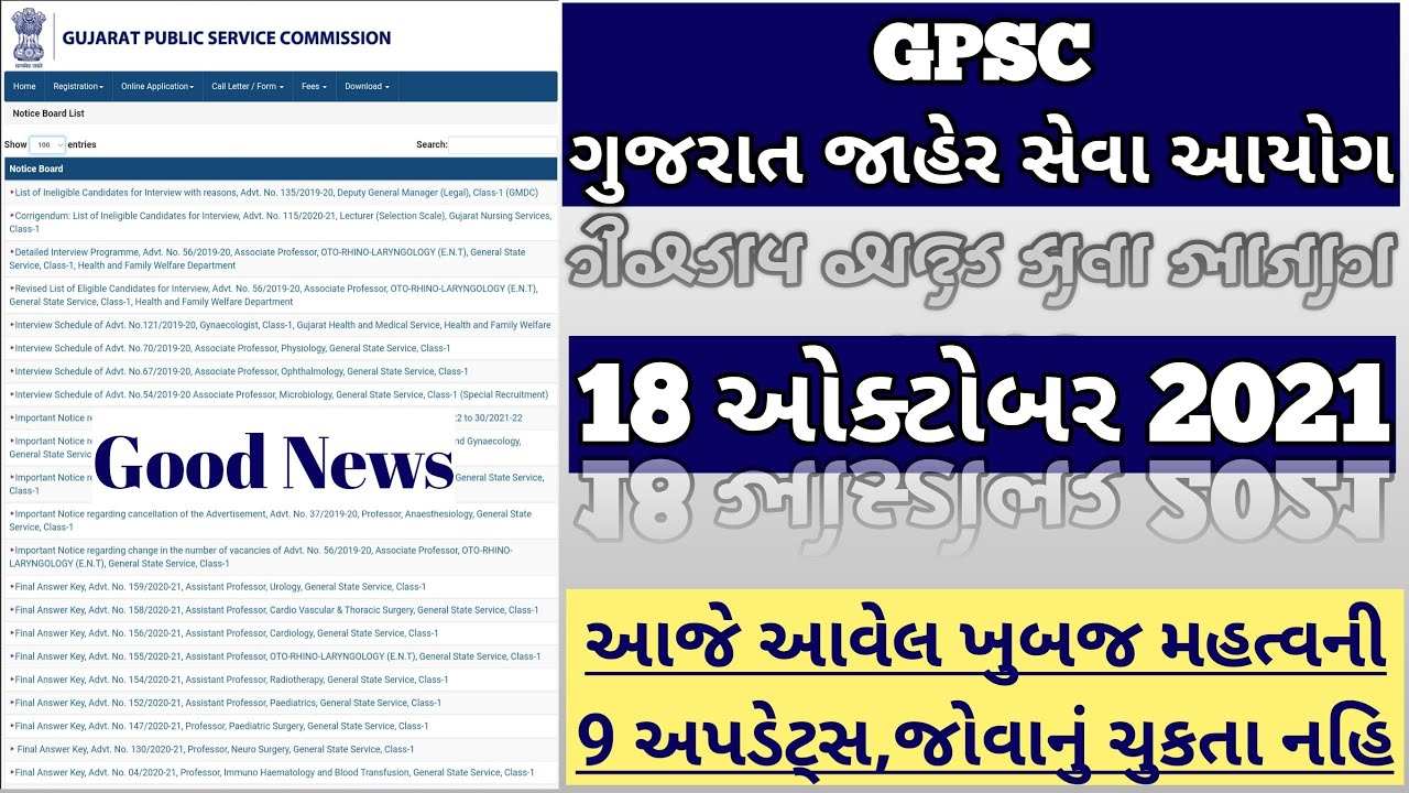 Download GPSC class 1,2,3 Full 9 New Updates on 18th October 2021 - Cut off - Result - Merit List - Interview