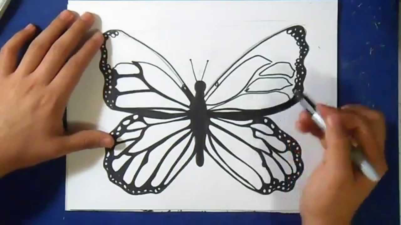 Comment dessiner papillon wie zeichnet schmetterling youtube - Dessine un papillon ...